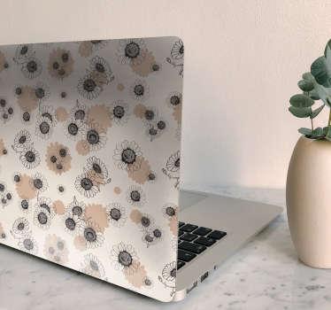Stickers muraux pour ordinateur portable avec une conception de fleur de marguerite vintage à la main. Personnalisable dans n'importe quelle taille de pouce d'un ordinateur portable. Facile à appliquer.