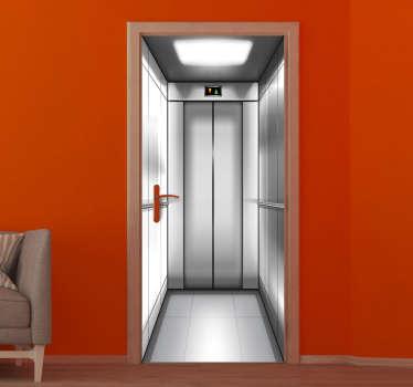 Une conception originale d'autocollant de porte à effet visuel 3d d'un ascenseur pour décorer une porte à la stupéfaction de tous ceux qui la voient. Disponible dans toutes les dimensions.