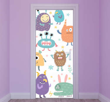 Creative monster door sticker with different happy monsters to decorate a door space for children. Available in any required size.