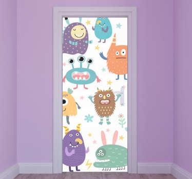 Vinilo puerta infantil de dibujos de monstruos felices creativo para decorar la puerta de los niños. Medidas personalizables ¡Envío a domicilio!