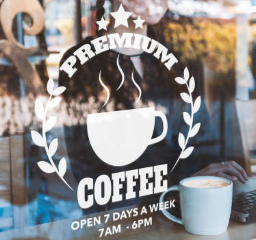 Coffee front shop window sticker decoration with customization text content. Provide the text required for the design to place on your business place.