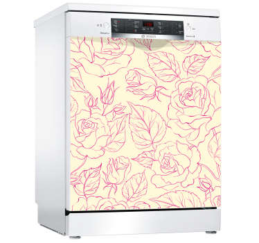 Decorative pink rose ornamental appliance sticker for dishwasher. Add a transforming touch on a kitchen space with amazing design on a dishwasher.