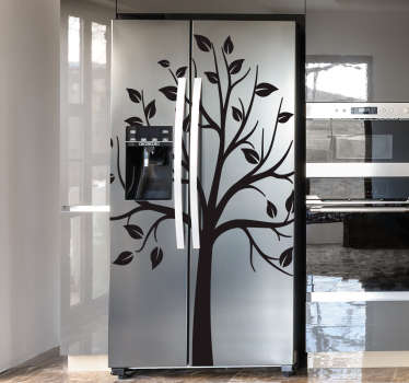 Fridge door sticker with the silhouette design of a tree with it branches . Available in different sizes and colours. Easy to apply.