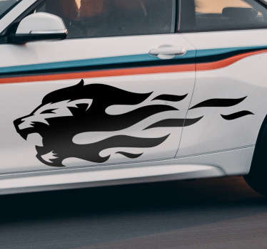 Decorative car vinyl sticker with the design of a lion's head with fire flame. Available in different colours and sizes. Easy to apply.