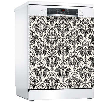Appliance vinyl sticker for dishwasher with textural ornamental print design. Easy to apply and remove. Available in any required size.