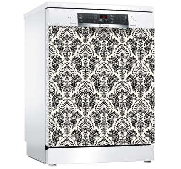 Vinilo para lavavajillas con diseño de textura ornamental estampada en blanco y negro con un diseño exclusivo. Fácil de colocar ¡Envío a domicilio!