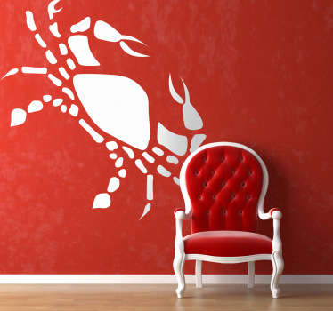 Horoscope wall sticker of the crab symbol of the Cancer star sign. Decorate your home with your very own zodiac sign and create a brilliant atmosphere. Choose the colour and size that suits your wall and remember that it is easy to apply and remove!