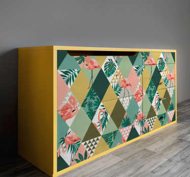 Tropical jungle furniture decal designed in multicolour style . Beautiful and ideal decoration for all furniture surface in the home.