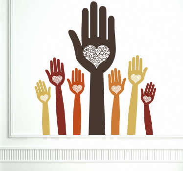 A decorative sticker illustrating many hands with hearts in their palms. A magnificent decal to decorate your room in a friendly way!