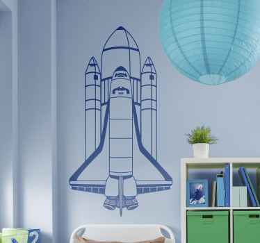Kids bedroom space stickers - The rocket launch wall sticker is for kids who love spaceships. The vinyl sticker comes in up to 50 colours.