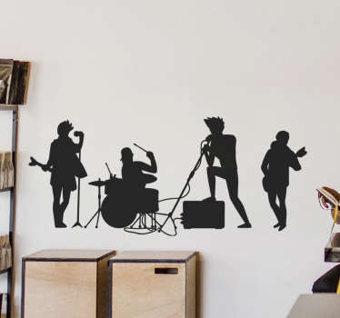 Music wall art decal of a rock n roll band with feature of various people playing instrument. Available in different colours and sizes.Easy to apply.