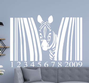Decorative Zebra animal with bar code wall sticker to decorate a home or any space of choice.  Available in different colours and size options.
