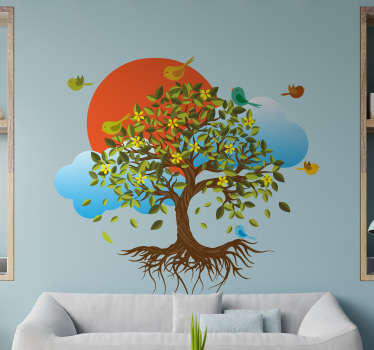 Decorative adhesive tree wall sticker with birds around it. Available in any required size. Easy to apply and and  durable.
