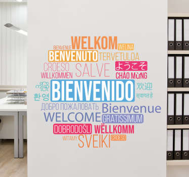 Decorative boardroom greeting text wall sticker to decorate in diversity of languages. A multicolour design available in any required size.