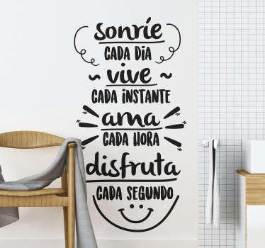 "Vinilo decorativo de texto con frase ""sonríe cada día, cada instante, ama cada hora, disfruta cada segundo"" en un estilo precioso ¡Envío gratuito!"
