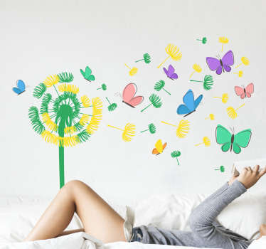 Decorative colorful dandelion flower with flying butterflies wall sticker to beautify the home. Easy to apply and self adhesive.