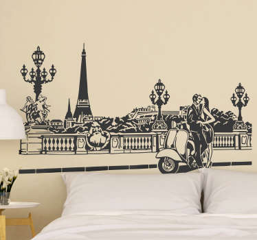 Decorative Paris city wall sticker with couple kissing. Recommended for both home and business places. Easy to apply and self adhesive.