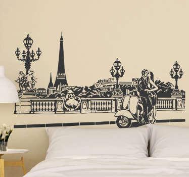 Dekorativer Paris Stadt wandaufkleber mit einem sich küssenden Paar. Empfohlen für Privat- und Geschäftsräume. Einfach aufzutragen und selbstklebend.