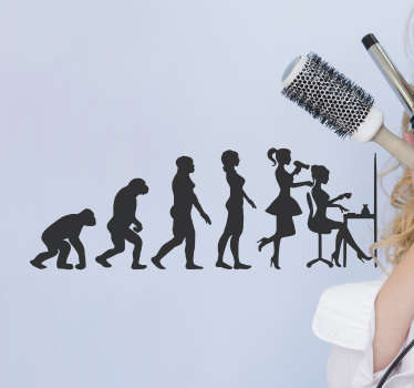 Salon business wall sticker the design of an evolutionary history form of a hair dresser. Available in different colors and sizes.