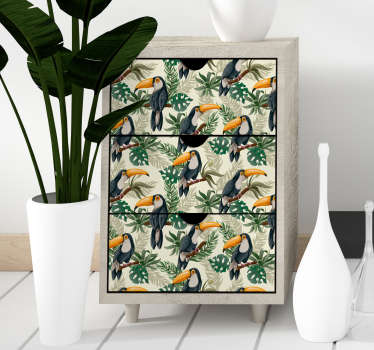 Jungle furniture sticker created with the graphic images of birds. Decorate every furniture in the home with this amazing design.