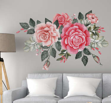 Decorative bouquet  colorful flower wall sticker for living room and bedroom. Easy to apply and available in any required size.
