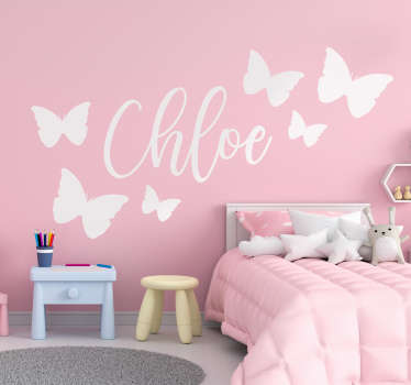 Beautiful butterfly wall sticker with customisable name. Provide the name desired for the design. Available in different colours and sizes.