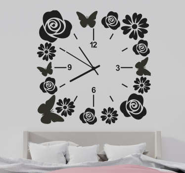 Decorative clock wall sticker with the design of flower and butterfly.  Available in different colors and sizes. Easy to apply.