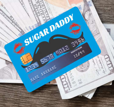 Bank card sticker with ''sugar daddy'' text. A lovely design with mustache, kisses and text. Easy to apply and self adhesive.