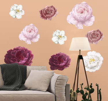 Colorful petal flower set wall art sticker to decorate the home space . Lovely for both living and bedroom. Available in any required size.