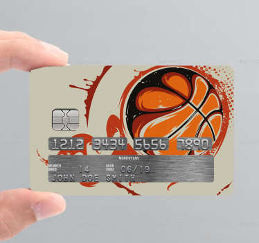 Decorative credit card sticker with basket ball design. Beautify the surface of your bank card in any of the amazing designs we have. Easy to apply.