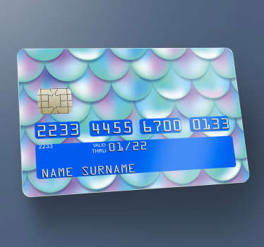 Blue and purple scale design bank card sticker to decorate the surface of a debit or credit card. Easy to apply and self adhesive.
