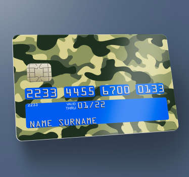 Camo debit card decal to decorate bank card surface in military style. A green and brown Como design with an original textural appearance.