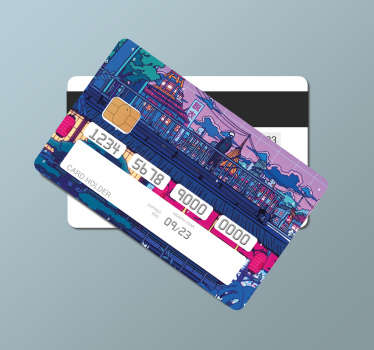 Konohagakure city bank card sticker to decorate the surface of a card. Pay bills in shopping places and travel destinations with a lovely card design.