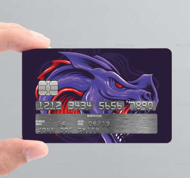 Decorative bank card sticker with a dragon design in colorful style. Flag the design you love on your card with our varieties of card sticker.
