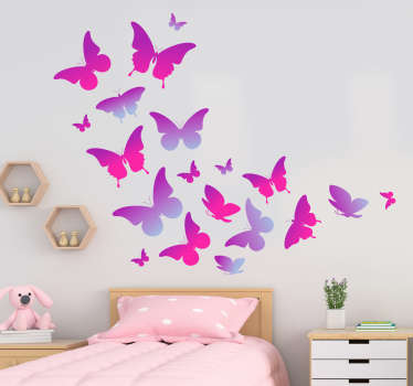 Colorful butterfly wall art sticker to decorate the home space. An ideal children's room decoration. Available in any required size.