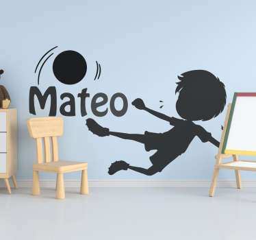 Soccer player wall sticker with a customisable name for kids. Provide any desired name for the design. It is available in different colours and sizes.