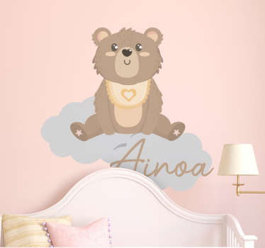 An illustrative bear with name wall sticker for the decoration of children's room. Customize the design in any name of choice.