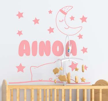 Adesivo da parete decorativo per la casa personalizzabile per bambini con design di gatto e stelle. Fornire il testo richiesto necessario per la progettazione.