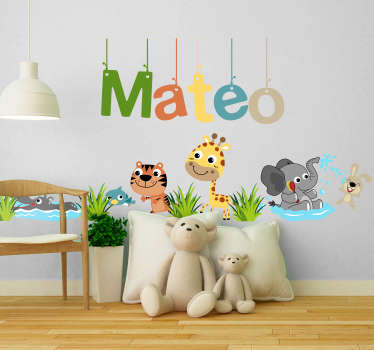 Customizable name wall sticker with jungle animal design for children bedroom decoration. Provide any name required for the design.