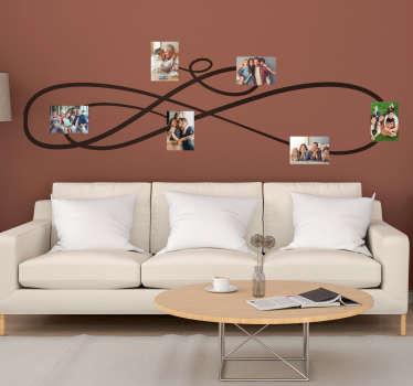 Ukrasna obiteljska zidna naljepnica za fotografije za dnevni boravak. Dostupno u različitim bojama i veličinama. Lako se nanosi i ljepi.
