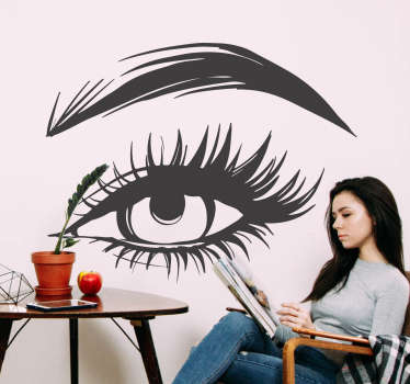 Aesthetics and fashion wall sticker with a woman's eyes with beautiful lashes and brows. Ideal for home and salon beauty shop. Easy to apply.
