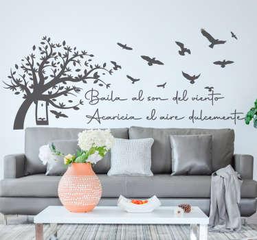 """Vinilo decorativo de frase motivadora con árboles y pájaros que cita """"baila al son del viento, acaricia el aire dulcemente"""" ¡Envío a domicilio!"""