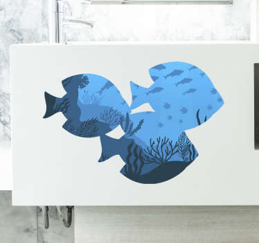 Decorate your bathroom with this spectacular fish sticker with an original design of three fish silhouettes with the representation of the seabed.