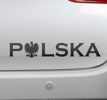Patriotyczna naklejka na samochód do dekoracji pojazdu. Jest dostępna w różnych rozmiarach i opcjach kolorystycznych. Napis Polska z orłem!