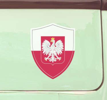 Patriotyczna naklejka na auto z godłem Polski do dekoracji dowolnego pojazdu. Jest dostępna w dowolnym wymaganym rozmiarze. Dostawa do domu!