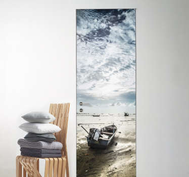 Seaside door decal with the design of boats on sea with the sky to decorate with an adventure vibes. Easy to apply and available in any size.