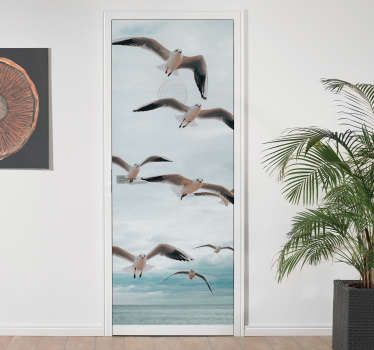 Decorative seaside and seagulls door sticker to decorate any door surface. It is easy to apply and available in any size required.