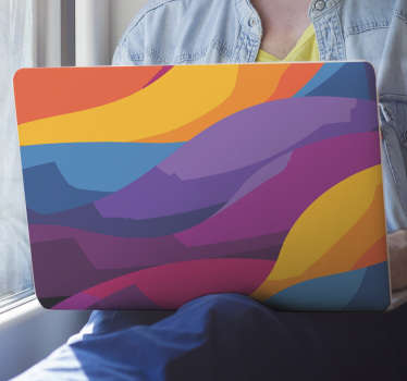 An original abstract laptop sticker designed with colorful painting style. It is available in any size required. It application is easy.