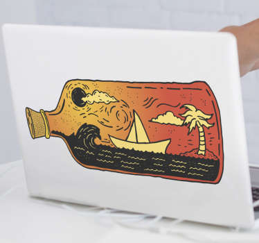 An original tropical bottle art for laptop decoration. It is available in different sizes, it is adhesive and simple to apply.