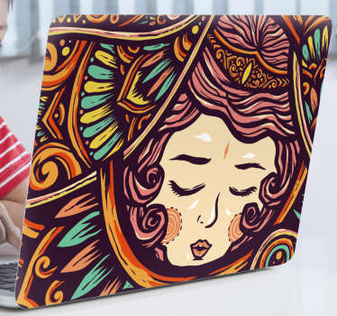 A tribal drawing of a woman laptop sticker. A lovely decoration for laptop and it is available in any size to wrap a laptop.